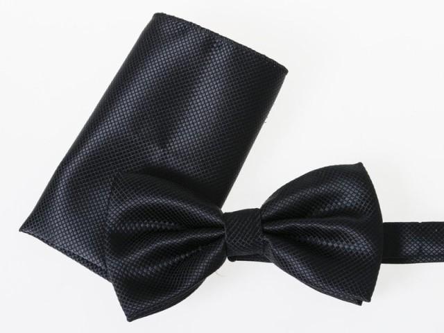メンズファッション 正装 ビジネス カジュアル お洒落 ネクタイ×ポケットチーフ 2点セット#ブラック