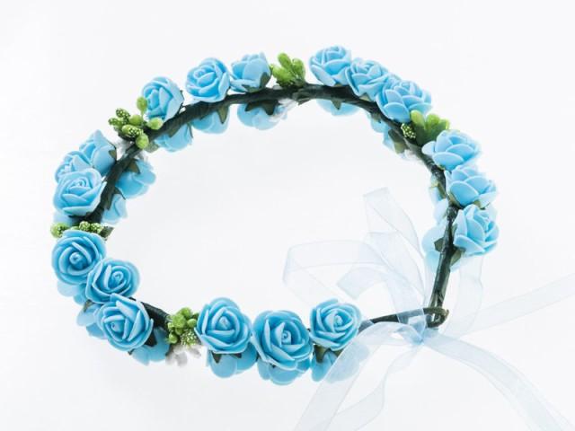 花嫁 花冠 花かんむり フラワー 造花アクセサリー 二重 ウェディング イベントなど#ブルー 送料込