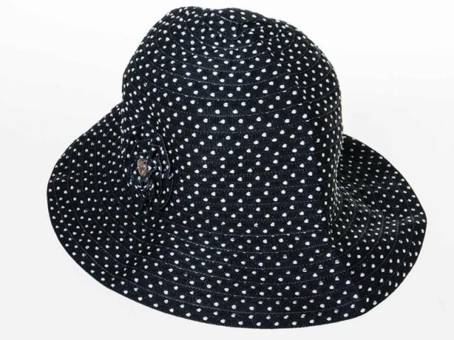 レディースファッション 折り畳む可能 クラッシャーハット 帽子 水玉 ドット柄 日よけ#ブラック 送料込