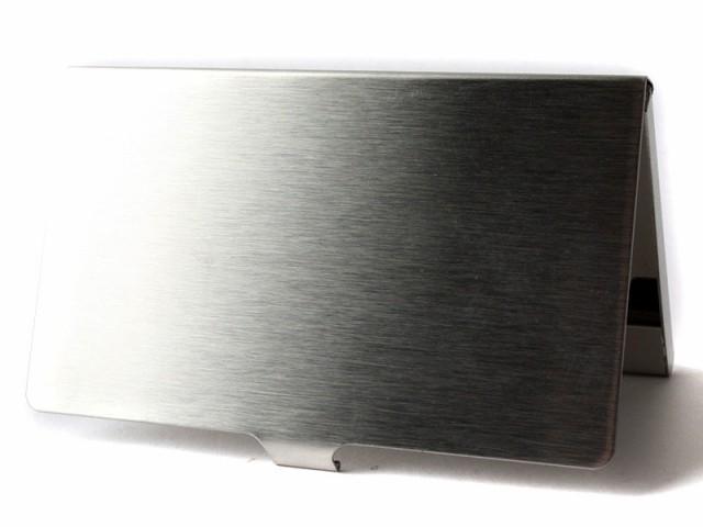 男女兼用 ステンレス製 ヘアライン調 名刺ケース カード入れ/前面後面マット、内部ミラータイプ 送料込