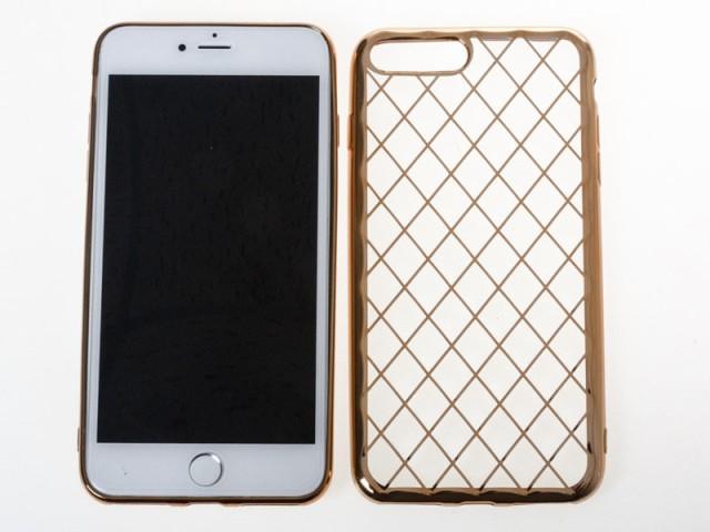 Apple iPhone 7 Plus iPhone 8Plus 衝撃減少 お洒落 金属メッキ調縁 菱形模様 ソフトケース 保護カバー#ゴールド 送料込