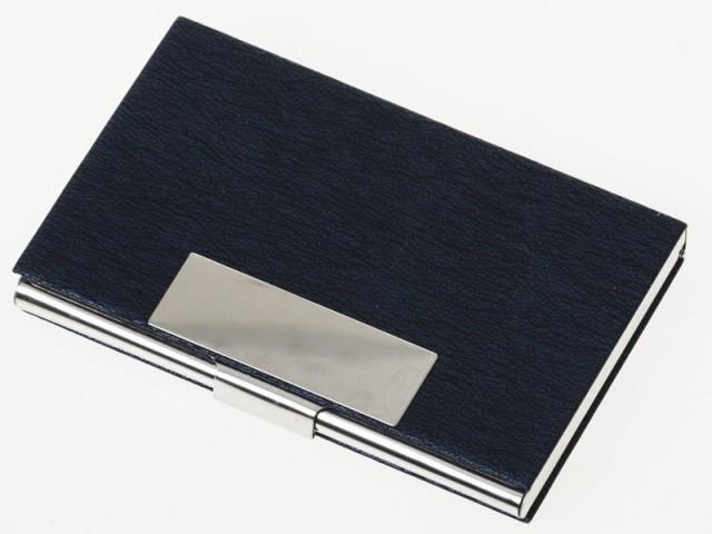 男女兼用 線入り模様 PUレザー+合金製 名刺入れ ケース カード収納整理 シンプル ビジネス用 #ブルー 送料込