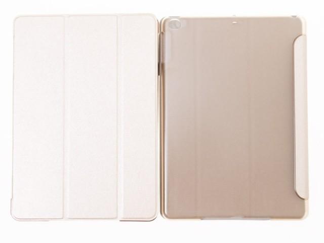 2017 Apple iPad 9.7用 シルク調 PUレザー 三つ折り カバー スタンドケース スリープ機能#ゴールド【新品/送料込み】
