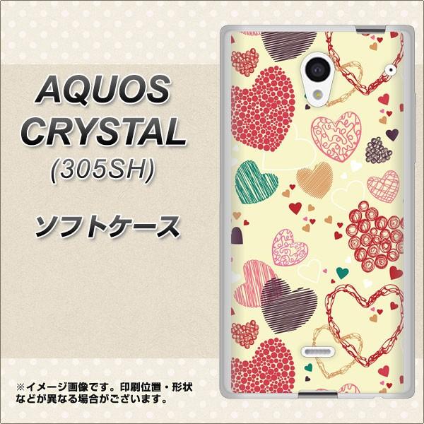 SoftBank AQUOS CRYSTAL 305SH TPU ソフトケース / やわらかカバー【480 素朴なハート 素材ホワイト】 UV印刷 (アクオス クリスタル 305
