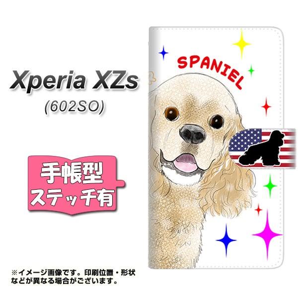 メール便 softbank Xperia XZs 602SO 手帳型スマホケース 【ステッチタイプ】 【 YD980 アメリカンコッカースパニエル01 】横開