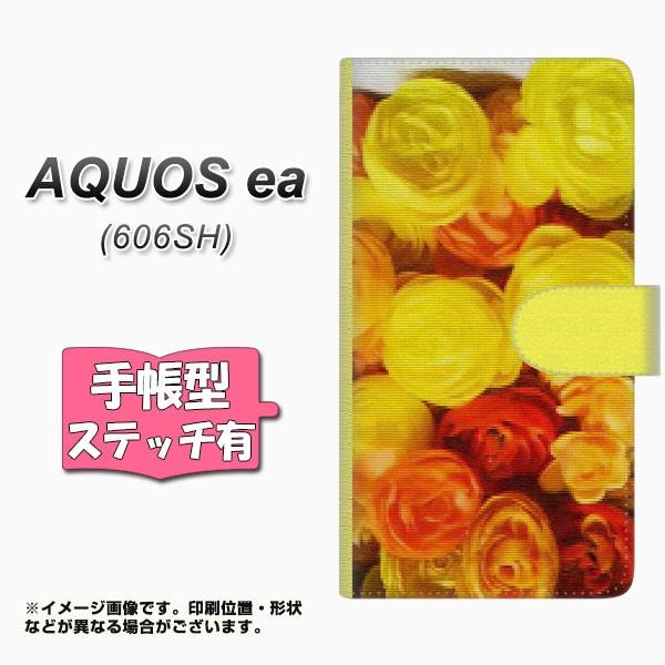 メール便 AQUOS ea 606SH 手帳型スマホケース 【ステッチタイプ】 【 YI880 フラワー1 】横開き (アクオスea 606SH/606SH用/ス