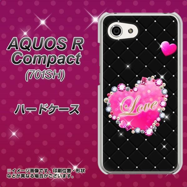 AQUOS R Compact 701SH ハードケース / カバー【SC823 スワロデコ_ハート 素材クリア】(アクオスR コンパクト 701SH/701SH用)