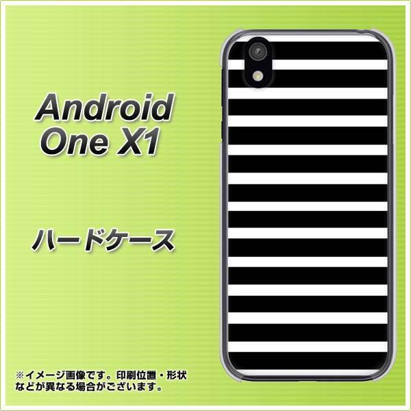 android one X1 ハードケース / カバー【330 サイドボーダーブラック 素材クリア】(アンドロイドワン X1/ANDONEX1用)