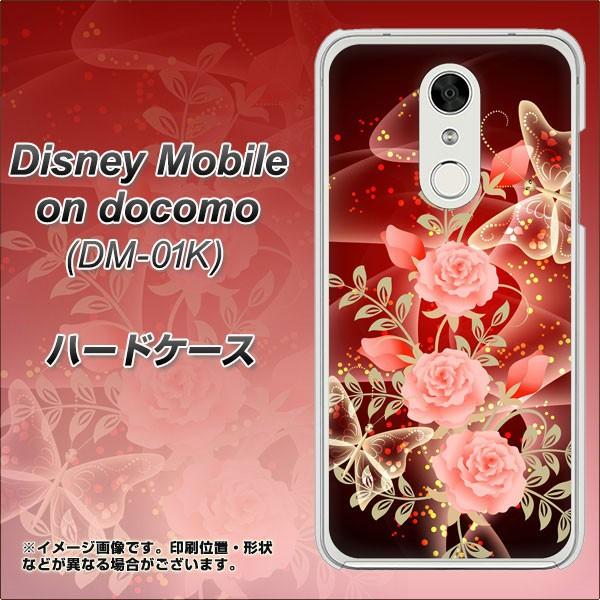 Disney Mobile on docomo DM-01K ハードケース / カバー【VA824 魅惑の蝶とピンクのバラ 素材クリア】(ディズニー モバイル DM-01K/DM01