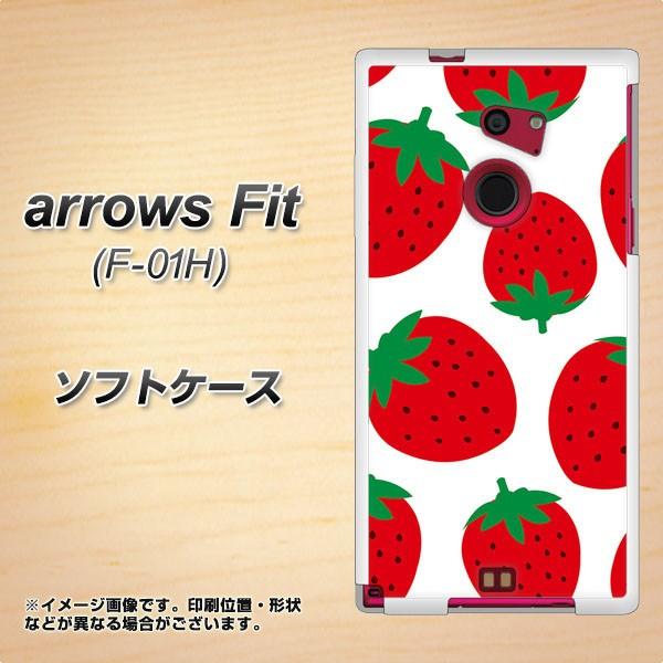 docomo arrows Fit F-01H TPU ソフトケース / やわらかカバー【SC818 大きいイチゴ模様 レッド 素材ホワイト】 UV印刷 (アローズFit F-0