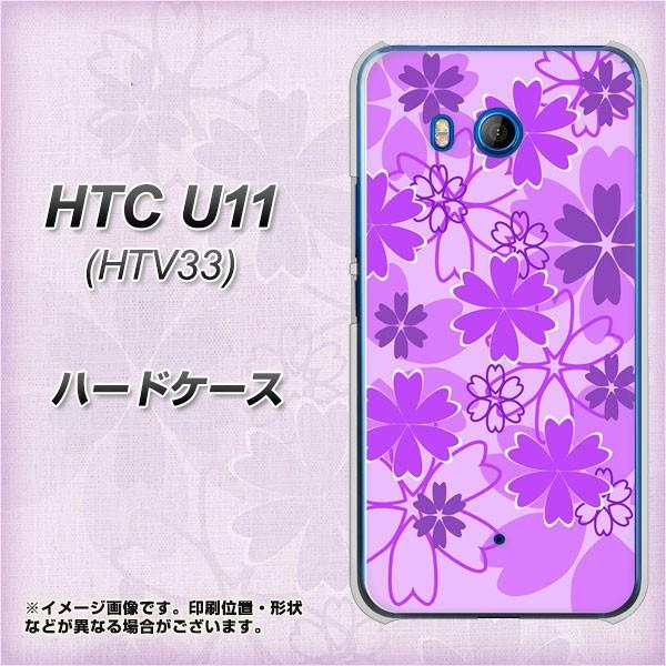 HTC U11 HTV33 ハードケース / カバー【VA960 重なり合う花 パープル 素材クリア】(エイチティーシー U11 HTV33/HTV33用)