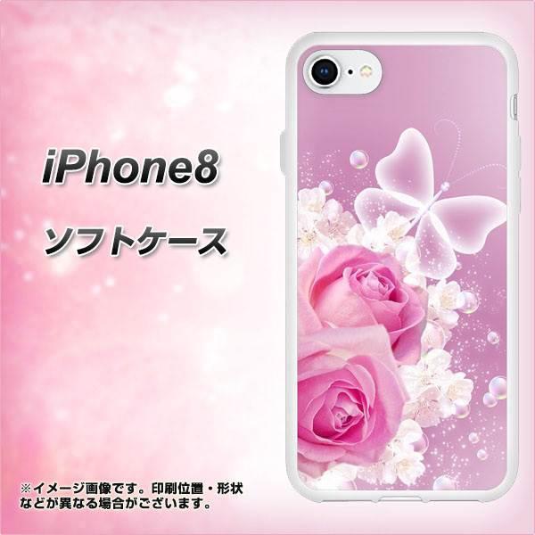 iPhone8 TPU ソフトケース / やわらかカバー【1166 ローズロマンス 素材ホワイト】(アイフォン8/IPHONE8用)