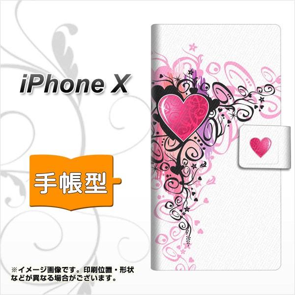 メール便 Apple iPhone X 手帳型スマホケース 【 007 スタイリッシュハート(白) 】横開き (アップル アイフォンX/IPHONEX用/ス