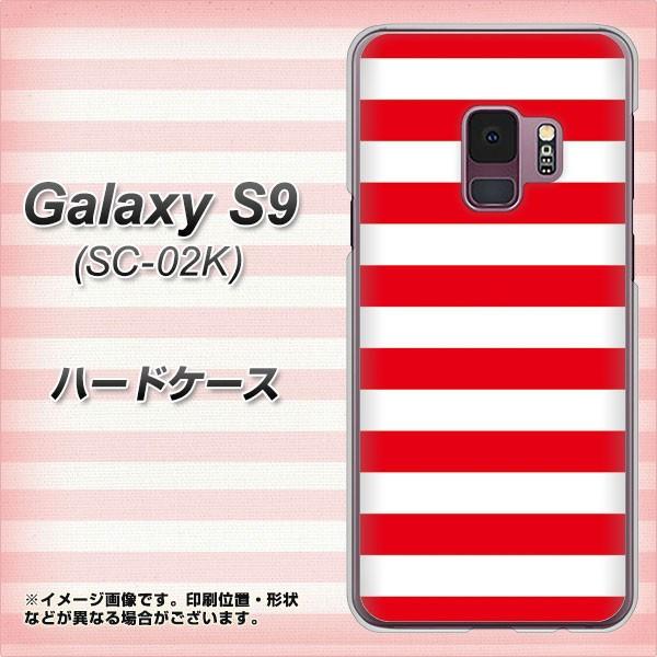 docomo Galaxy S9 SC-02K ハードケース / カバー【VA946 THE ボーダー赤 素材クリア】(ギャラクシー S9 SC-02K/SC02K用)