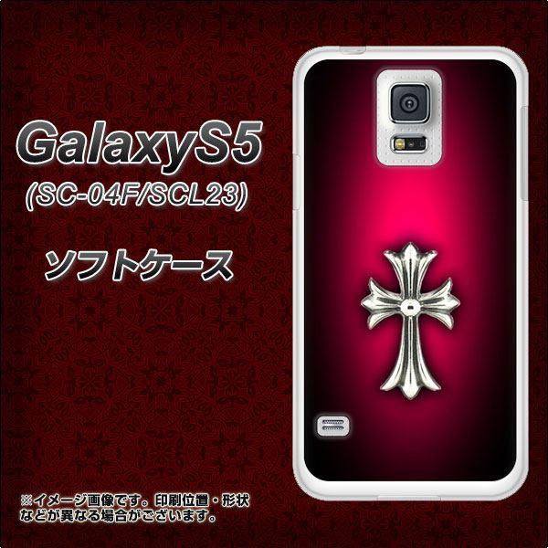 GALAXY S5 SC-04F / SCL23 TPU ソフトケース / やわらかカバー【249 クロスレッド 素材ホワイト】 UV印刷 (ギャラクシー エス ファイブ/