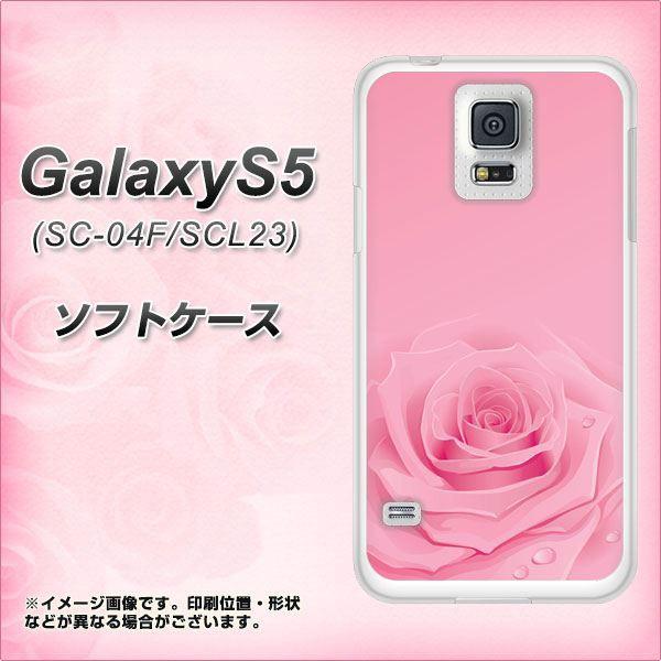 GALAXY S5 SC-04F / SCL23 TPU ソフトケース / やわらかカバー【401 ピンクのバラ 素材ホワイト】 UV印刷 (ギャラクシー エス ファイブ/