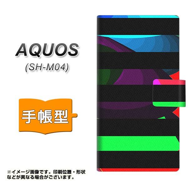 メール便 AQUOS SH-M04 手帳型スマホケース 【 YB844 ボーダー05 】横開き (アクオス SH-M04/SHM04用/スマホケース/手帳式)