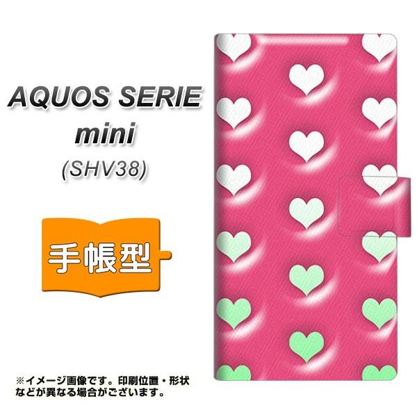 メール便 AQUOS SERIE mini SHV38 手帳型スマホケース 【 YB966 ハートピンク 】横開き (アクオス セリエ ミニ SHV38/SHV38用/ス