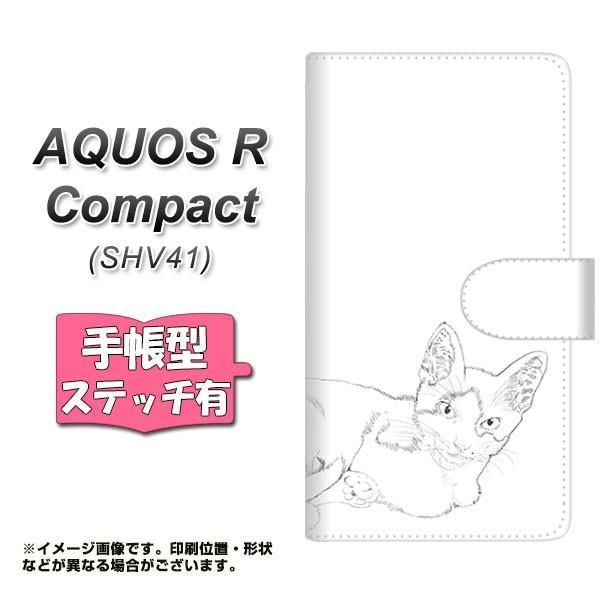 メール便 AQUOS R Compact SHV41 手帳型スマホケース 【ステッチタイプ】 【 YJ153 ネコ 手描き イラスト おしゃれ 】横開き (ア