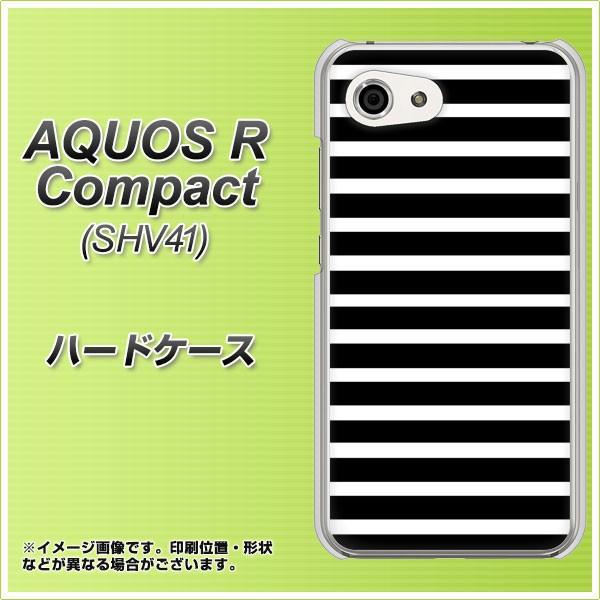 AQUOS R Compact SHV41 ハードケース / カバー【330 サイドボーダーブラック 素材クリア】(アクオスR コンパクト SHV41/SHV41用)
