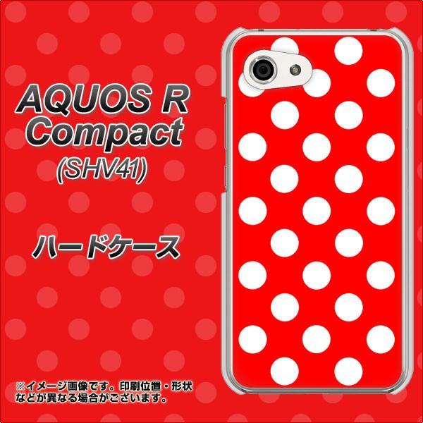 AQUOS R Compact SHV41 ハードケース / カバー【331 ドット柄(水玉)レッド×ホワイトBig 素材クリア】(アクオスR コンパクト SHV41/SH