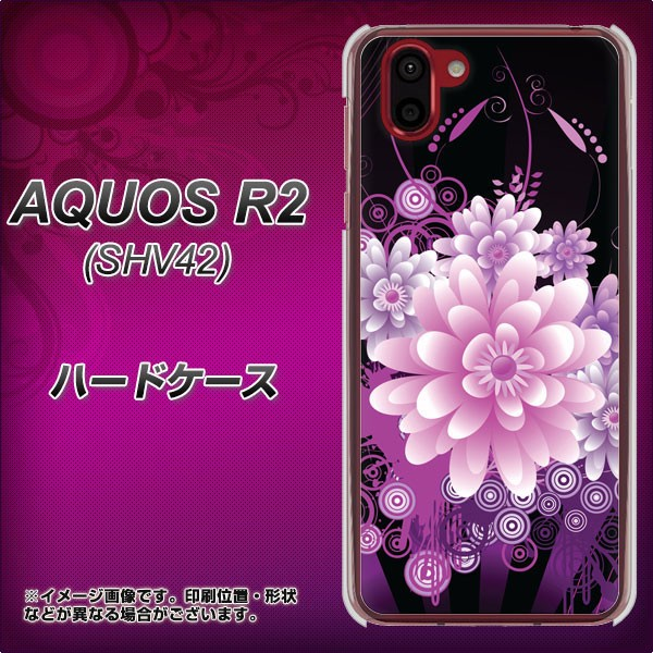 au AQUOS R2 SHV42 ハードケース / カバー【564 3Dフラワー 素材クリア】(au アクオス R2 SHV42/SHV42用)