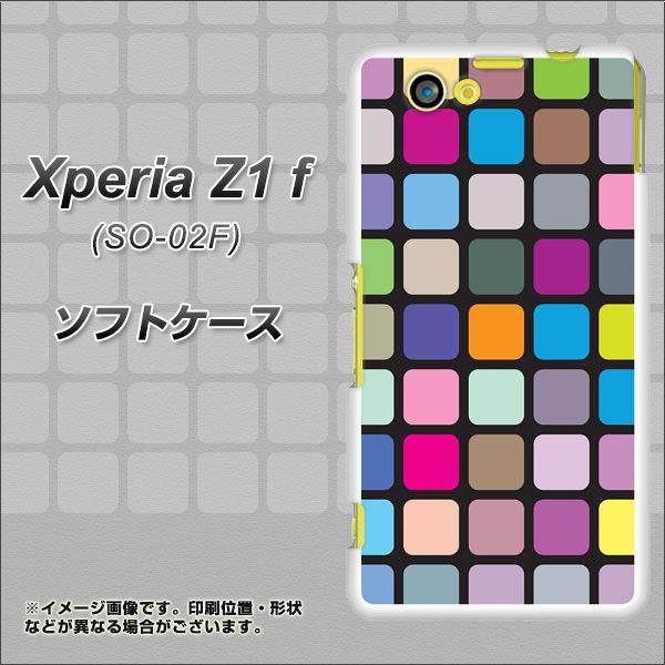 docomo XPERIA Z1 f SO-02F TPU ソフトケース / やわらかカバー【509 カラースクエアー 素材ホワイト】 UV印刷 (エクスぺリアZ1 f/SO02F