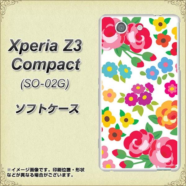 docomo Xperia Z3 Compact SO-02G TPU ソフトケース / やわらかカバー【776 5月のフラワーガーデン 素材ホワイト】 UV印刷 (エクスペリ