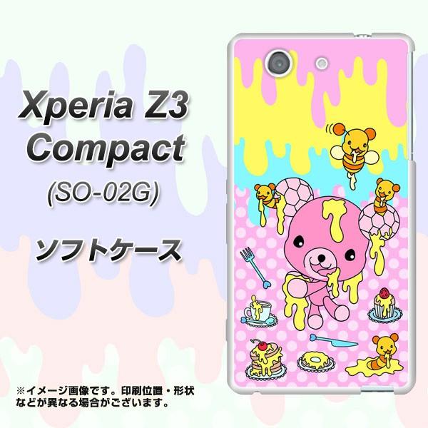 docomo Xperia Z3 Compact SO-02G TPU ソフトケース / やわらかカバー【AG822 ハニベア(水玉ピンク) 素材ホワイト】 UV印刷 (エクスペリ
