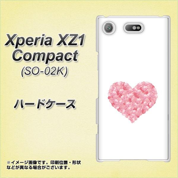 Xperia XZ1 Compact SO-02K ハードケース / カバー【VA839 バラ色ハート 素材クリア】(エクスペリア XZ1 コンパクト SO-02K/SO02K用)