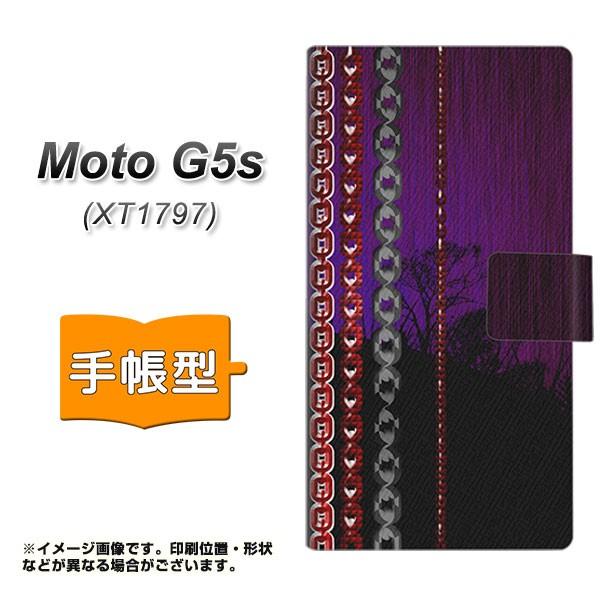 メール便 Moto G5s XT1797 手帳型スマホケース 【 YA944 チェーンドクロ 】横開き (モト G5s XT1797/XT1797用/スマホケース/手帳