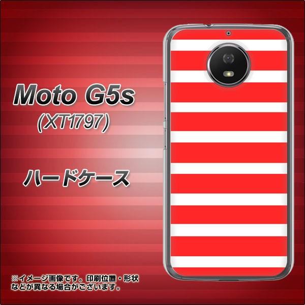 Moto G5s XT1797 ハードケース / カバー【EK881 ボーダー レッド 素材クリア】(モト G5s XT1797/XT1797用)