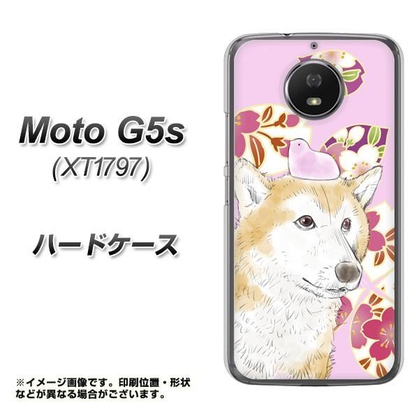 Moto G5s XT1797 ハードケース / カバー【YJ004 柴犬 和柄 桜 素材クリア】(モト G5s XT1797/XT1797用)
