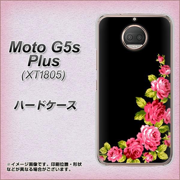 Moto G5s Plus XT1805 ハードケース / カバー【VA826 バラのフレーム(黒) 素材クリア】(Moto G5s プラス XT1805/XT1805用)