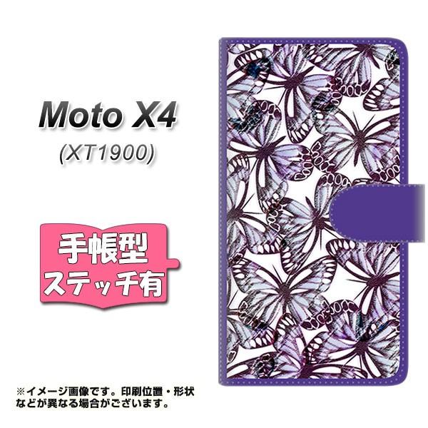 メール便 Moto X4 XT1900 手帳型スマホケース 【ステッチタイプ】 【 SC903 ガーデンバタフライ パープル 】横開き (モト X4 XT1