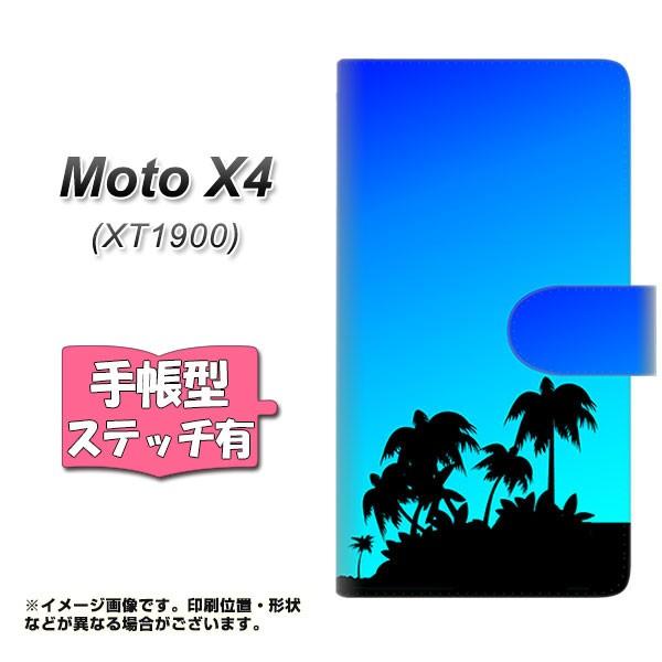 メール便 Moto X4 XT1900 手帳型スマホケース 【ステッチタイプ】 【 YC986 トロピカル07 】横開き (モト X4 XT1900/XT1900用/ス