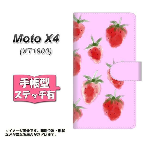 メール便 Moto X4 XT1900 手帳型スマホケース 【ステッチタイプ】 【 YJ180 苺 いちご かわいい おしゃれ フルーツ 】横開き (モ