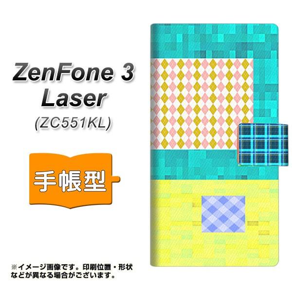 メール便 ZenFone3 Laser ZC551KL 手帳型スマホケース 【 YB828 ツギハギ 】横開き (ゼンフォン3レーザー ZC551KL/ZC551KL用/ス