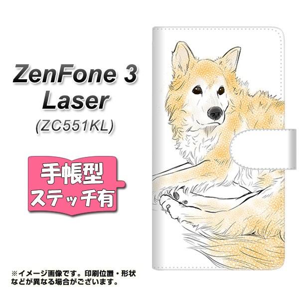 メール便送料無料 ZenFone3 Laser ZC551KL 手帳型スマホケース 【ステッチタイプ】 【 YE992 ラブドッグ01 】横開き (ゼンフォン3レーザ