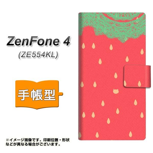 メール便 ZenFone4 ZE554KL 手帳型スマホケース 【 MI800 strawberry ストロベリー 】横開き (ゼンフォン4 ZE554KL/ZE554KL用/ス