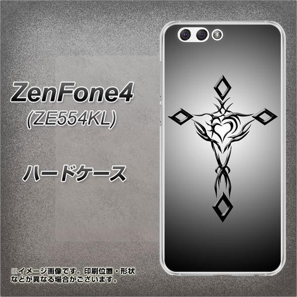 ZenFone4 ZE554KL ハードケース / カバー【VA898 ハートのクロス ブラック 素材クリア】(ゼンフォン4 ZE554KL/ZE554KL用)