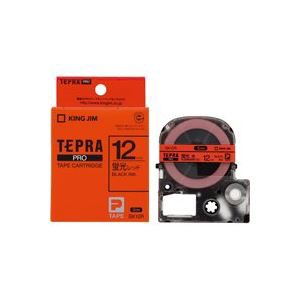 激安正規  〔幅:12mm〕 テプラPROテープ/ラベルライター用テープ (業務用50セット) キングジム SK12R 〔送料無料〕 蛍光赤に黒文字-プリンター・インク