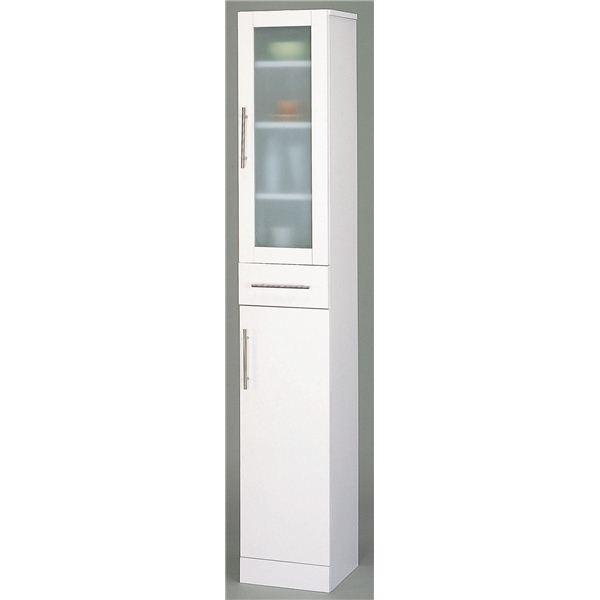 ガラス扉食器棚/キッチン収納 〔スリムタイプ 幅30cm〕 ミストガラス使用 『カトレア』 大容量 〔組立〕 〔送料無料〕