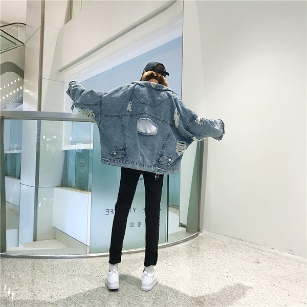 natu-lohaアメカジ「ボーイッシュ☆デニムジャケ」ダメージ加工×フリンジ 2018 秋冬春 PTX5876