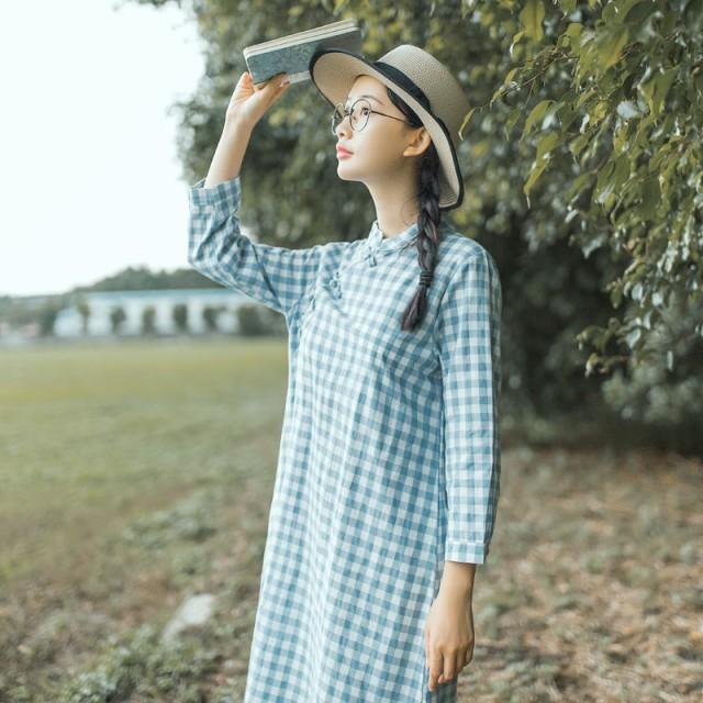 natu-loha「爽やかに可愛く♪」スタンドカラーのチェックワンピース 2018 春夏 PTX8495