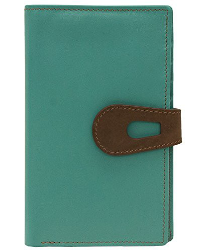 ILIili Leather 7813 Wallet with RFID Blocking (Turquoise/ Toffee)