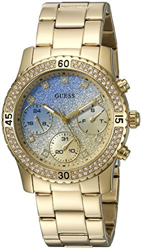 超特価SALE開催! 【当店1年保証 Dial】ゲスGUESS Women's U0774L2 Sporty Gold-Tone Blue Watch Crystal-Accented with Blue Dial , Crystal-Accented B, mufmuf:6b3b2876 --- kleinundhoessler.de