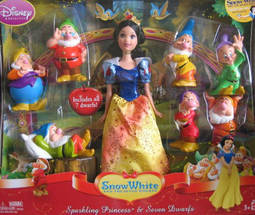 完成品 The Canada by Princess 白雪姫Disney Mattel (2009) Dwarfs Seven WHITE SNOW Set and-おもちゃ