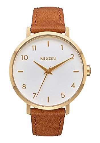 買得 with Stainless-Steel 【当店1年保証】ニクソンNixon Leather Str Women's Arrow Japanese-Quartz Watch-腕時計レディース