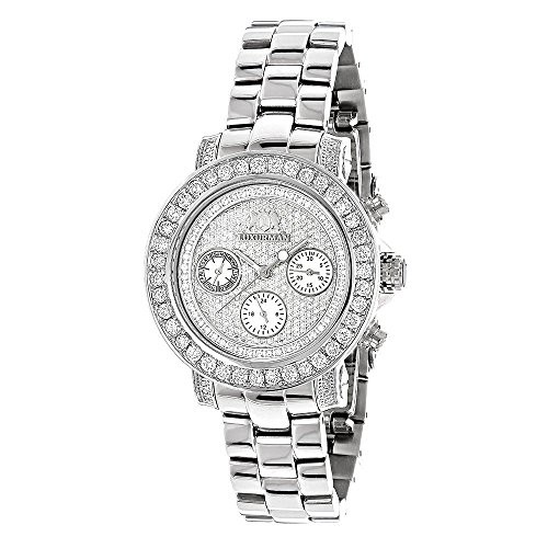 【特別訳あり特価】 【当店1年保証】ラックスマンLadies Diamond Watch 3ctw of Diamonds by Luxurman, アカイケマチ 8be418b1